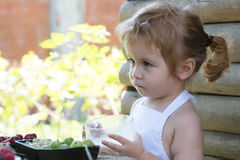 Cute little boy drinks milk Royalty Free Stock Photo