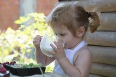 Cute little boy drinks milk Stock Photos