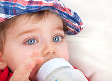 Cute little boy eating Stock Photography