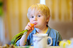 Cute little boy eating fresh organic carrot Royalty Free Stock Photo