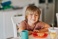 Cute little boy eating his breakfast royalty free stock images