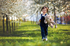 Cute little boy, eating strawberry in the park on a spring sunny. Afternoon, together with his big teddy bear Stock Photo