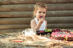 Cute little boy eats berries Royalty Free Stock Image