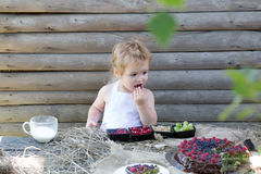 Cute little boy eats berries Royalty Free Stock Photo