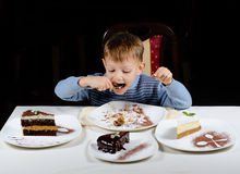 Cute little boy enjoying a treat of party cakes Royalty Free Stock Photo
