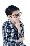 Cute little boy with eye glasses stock image