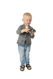 Cute little boy with fan from computer Royalty Free Stock Images