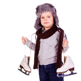 Cute little boy with figure skated Royalty Free Stock Image