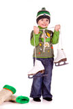 Cute little boy with figure skated Stock Photo
