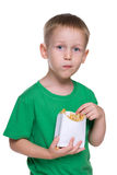 Cute little boy with fries Royalty Free Stock Photography
