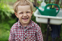 Cute little boy in garden Royalty Free Stock Photo