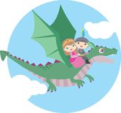 Cute Little Boy and Girl Flying on a Dragon Circle Design Isolated on White stock image