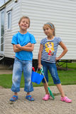 Cute little boy and girl, going to beach. Happy kids enjoying holidays, going to beach Stock Image