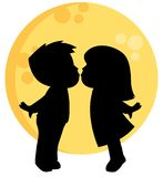 Cute Little Boy and Girl Kissing Silhouette with a Full Moon Behind Them Valentines Day Vector Illustration Isolated on White Vector Illustration