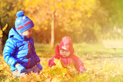 Cute little boy and girl playing in autumn fall Royalty Free Stock Image