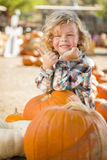 Cute Little Boy Gives Thumbs Up at Pumpkin Patch stock images