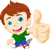 Cute little boy giving you thumbs up Stock Photos