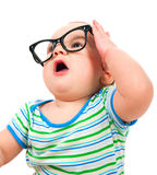 Cute little boy in glasses Stock Images