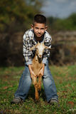 Cute little boy with goat Royalty Free Stock Photography