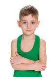 Cute little boy in a green shirt Stock Photography
