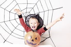 Cute little boy on Halloween party stock image