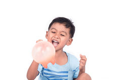 Cute little boy happy and smile white play balloon Stock Photos
