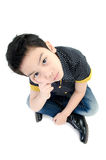 Cute little boy with hat isolate on white background . Stock Photos