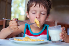 Cute little boy having delicious breakfast Stock Photography