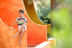 Cute little boy having fun outdoors Royalty Free Stock Images