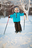 Cute little boy having fun during skiing on cross Stock Photography