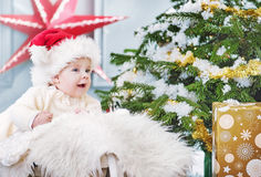 Cute little boy during his first Christmas Royalty Free Stock Photography