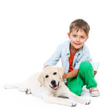 Cute little boy with his labrador Royalty Free Stock Images