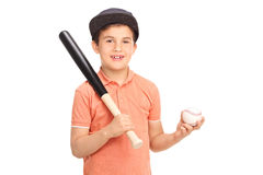 Cute little boy holding a baseball bat. Cute little boy with a baseball cap holding a baseball bat and a ball isolated on white background Royalty Free Stock Photos