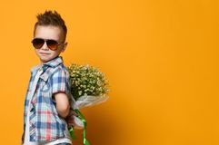 Cute little boy holding a bouquet of flowers. Cute little boy holding a bouquet of flowers, daisies on his back. Mothers Day. International Womens Day. Portrait royalty free stock images