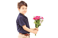 Cute little boy holding bunch of flowers. Isolated on white background Royalty Free Stock Photos