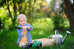 Cute little boy holding garden tools on the domestic garden at summer sunny day Stock Photo