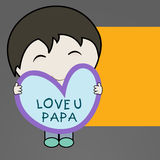 Cute little boy holding a heart shape note with text  Love You P Stock Photography