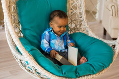 Cute little boy at home stock images