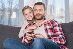 Father and son watching tv Royalty Free Stock Photo
