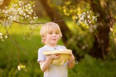 Cute little boy hunts for easter egg in spring park royalty free stock photo