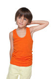 Cute little boy imagines. A cute little boy imagines on the white background royalty free stock photography