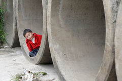 Cute Little Boy In Red Stock Photography