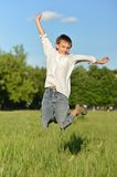 Cute little boy jumping Stock Photography