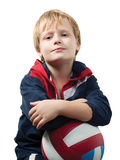 The cute little boy in a jumpsuit Stock Images