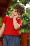 Cute little boy on jungle gym Royalty Free Stock Photo