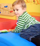 Cute little boy in kindergarten Stock Photos