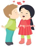 Cute Little boy Kissing a Girl Valentines Day Card Vector Flat Illustration Isolated on White. All elements are grouped together logically and easy to edit royalty free illustration