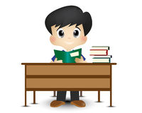 Cute Little Boy Are Learning At His Desk Royalty Free Stock Photo