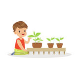 Cute little boy learning about plants during lesson of botany in kindergarten cartoon vector Illustration Royalty Free Stock Photography