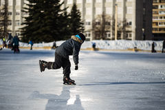 Free Cute Little Boy Learning To Skate In Sunny Spring Day Stock Photos - 67790603